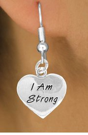 """I Am Strong"" Heart Charm - Charm Measures - Choose Earring Style- 2 Options"