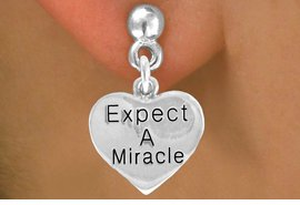 """Expect A Miracle"" Heart Charm - Charm Measures - Choose Earring Style- 2 Options"