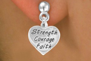 """Strength Courage Faith"" Heart Charm - Charm Measures - Choose Earring Style- 2 Options"