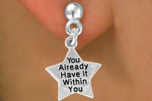 """You Already Have It Within You"" Heart Charm - Charm Measures - Choose Earring Style- 2 Options"