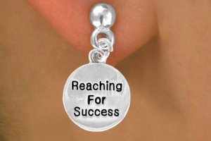 """Reaching For Success"" Heart Charm - Charm Measures - Choose Earring Style- 2 Options"