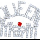 Queen Mom Red Hat Crystal Pin - Choose Gold or Silver Finish
