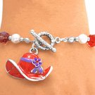 Red Hat Charms Toggle Bracelet with Beads
