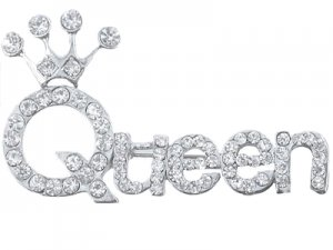 Queen Crystal Pin - Silver Finish
