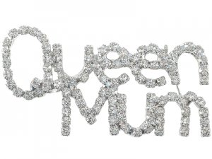 Queen Mum Crystal Pin - Silver Finish
