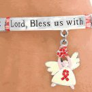 """Lord Bless Us"" AIDS Awareness Bracelet  with Prayer and Angel"