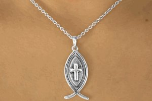 Christian Fish and Cross Pendant and Necklace