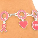 Breast Cancer Charm Bracelet With Dangling Pink Ribbon Charms