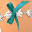 "Silvertone ""Dove Of Peace"" Ovarian Cancer Awareness with Dark Teal Ribbon"