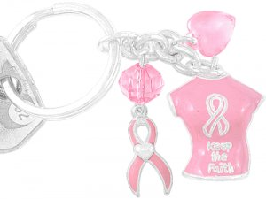 Pink T-Shirt Breast Cancer Awareness Key Chain With Suspended Pink Ribbon