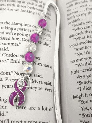 Breast Cancer Awareness Bookmark Ribbon with Faceted Beads