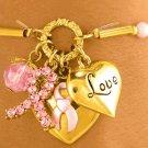 Gold Finish Stretch Austrian Crystal Breast Cancer Awareness Ribbon Bracelet
