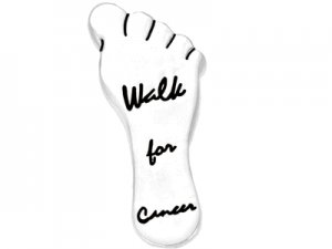 """Polished Silver Finish Footprint  """"Walk For Cancer"""" Breast Cancer Awareness Tack Pin"""