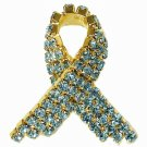 Aquamarine Swarovski Austrian Crystal Breast Cancer Awareness Pin