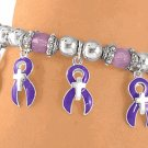 Purple Cancer Awareness Bracelet - With Silver Tone Christian Crosses In The Centers
