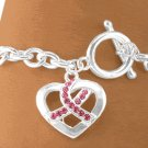 Austrian Crystal Breast Cancer Awareness Ribbon Silver Tone Bracelet