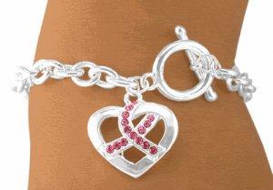 Austrian Crystal Breast Cancer Awareness Ribbon Silver Tone Bracelet