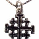 "Silver Jerusalem Cross Necklace Petit - 18"" Sterling Silver chain included"