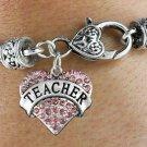"""""""TEACHER"""" Heart Charm Bracelet"""