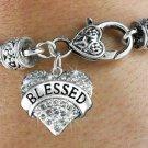 """""""BLESSED"""" Heart Charm Bracelet"""