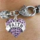 """FAITH"" Heart Charm Bracelet"