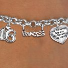Sweet 16 Princess Themed Charm Bracelet