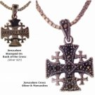 "Jerusalem Cross Marcasites with 18"" Sterling Silver matching chain"