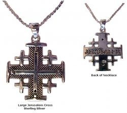 """Silver Jerusalem Cross (size large) - 18"""" Sterling Silver chain included"""
