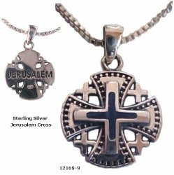 Ornate Jerusalem Cross & Blue Lapis Necklace with Sterling Silver chain