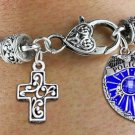 Policeman Shield and Cross Charm Bracelet