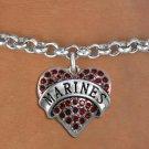 """MARINES"" Heart Charm Bracelet"