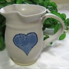 Sponge Blue Heart Milk Pitcher Pottery