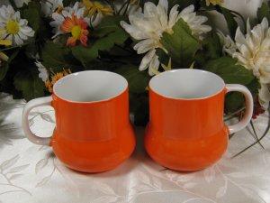 H.H. 1968 Orange Cups 7640 Mugs Retro