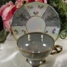 Enesco Cup Saucer Made in Japan Iridescent
