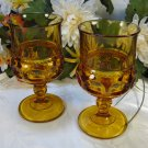 Indiana Glass Kings Crown Goblets Amber
