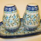 Polish Pottery Unikat Salt Pepper Set Boleslawiec