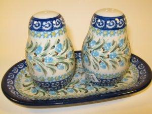 Polish Pottery Unikat Salt Pepper Set Boleslawiec