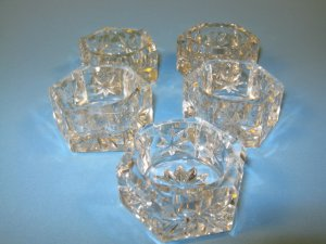 Hex and Star Open Salt Dips Vintage Set of 5