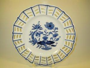Baum Bro Blue Onion Plate Diagonal Lattice Formalities
