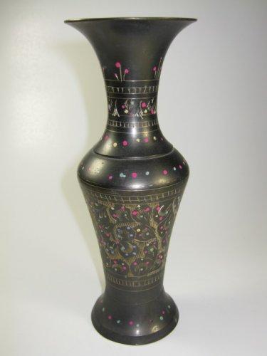 Brass Enameled Etched Vase Pakistan