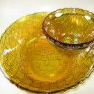 Indiana Glass Weavetex Basketweave Chip Dip Set Goldtone