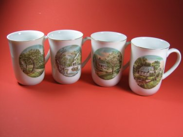 Currier & Ives Mugs Cups Four Seasons