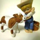 Enesco Country Cousins Little Boy and Calf Cow