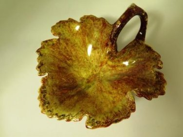 Ceramic Leaf Nappy Dish OOAK A Held Signed
