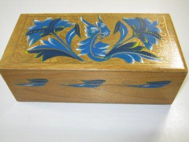 Tole Painted Wood Jewelry Trinket Box