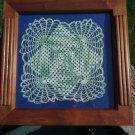 Vintage Wood Walnut Frame and Doily Green Blue