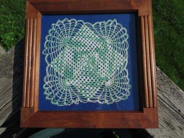 Vintage Wood Walnut Frame and Doily Green Blue