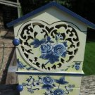 Small Wood Display Cabinet Blue Roses