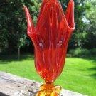 Vintage Handkerchief Vase Persimmon Color