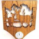 Oak Carved Clock Deer Picture Plaque Handcrafted